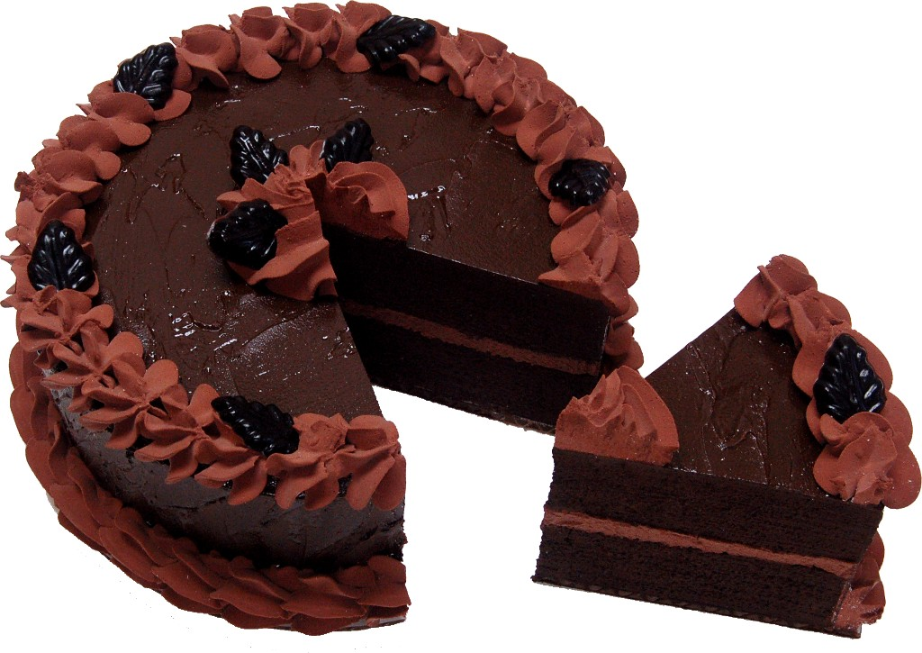 fake chocolate cake with slice