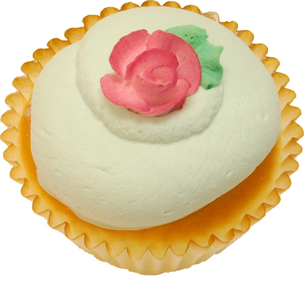 Green Pink Rose Fake Cupcake
