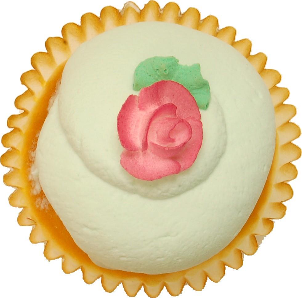 Green Pink Rose Fake Cupcake TOP