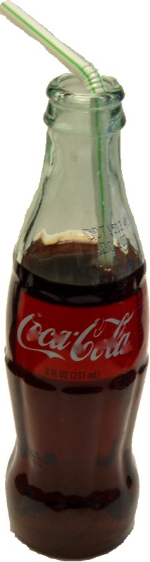 Cola Soda Glass Bottle 8oz with straw