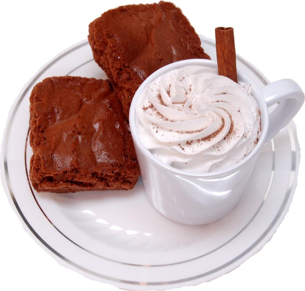 Fake Hot Chocolate Plastic Mug and Brownies on Plate top