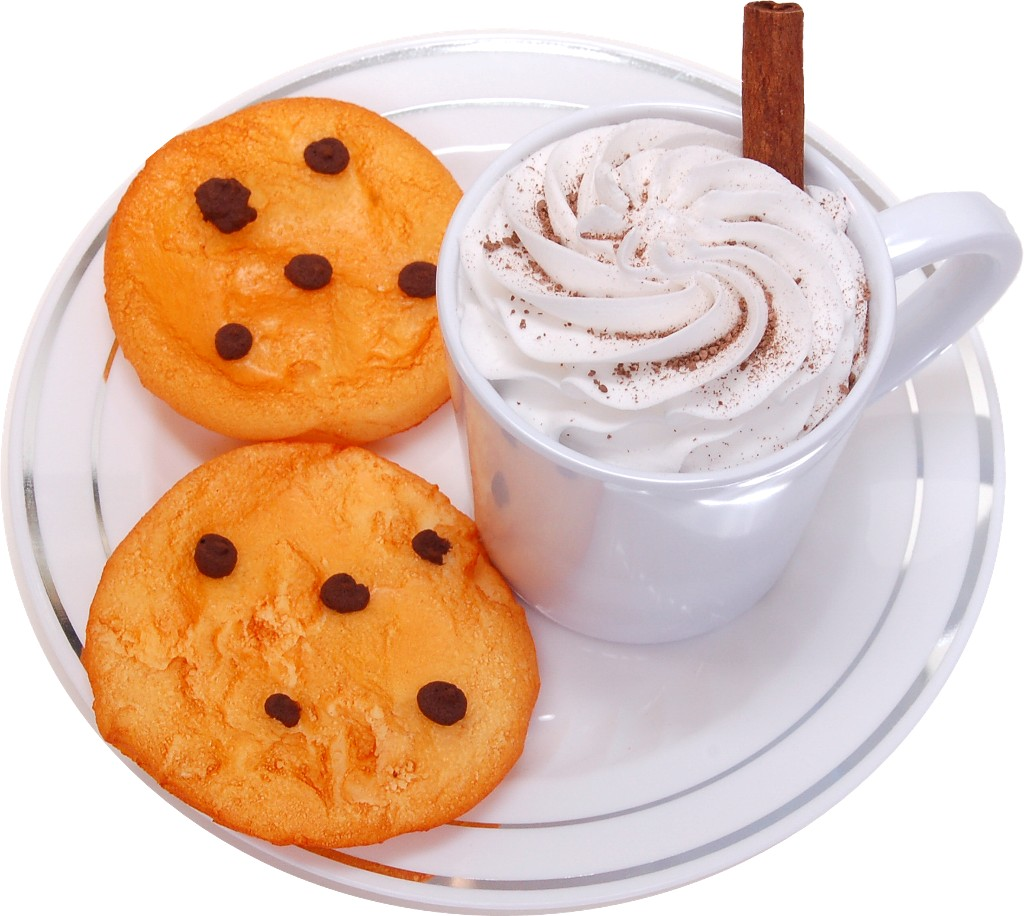 Fake Hot Chocolate Plastic Mug and Chocolate Chip Cookies on Plate top