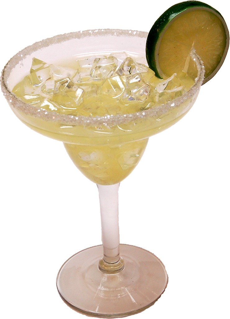 Margarita Glass with Ice Fake Drink