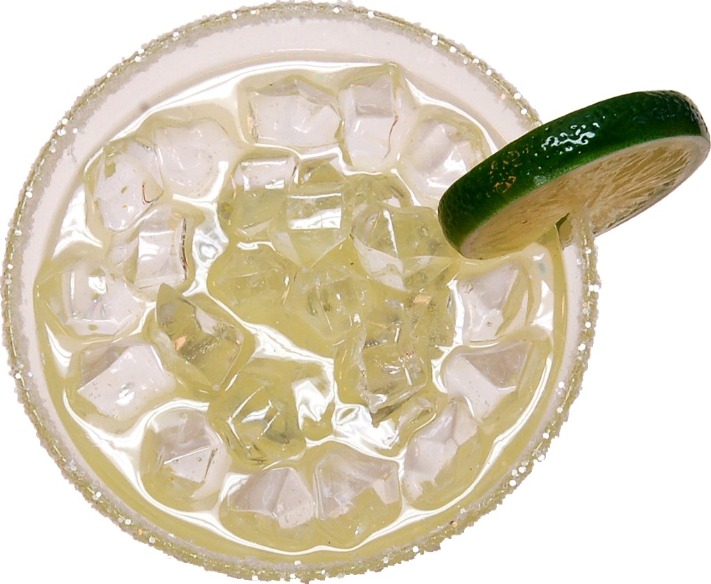 Margarita Glass with Ice Fake Drink top