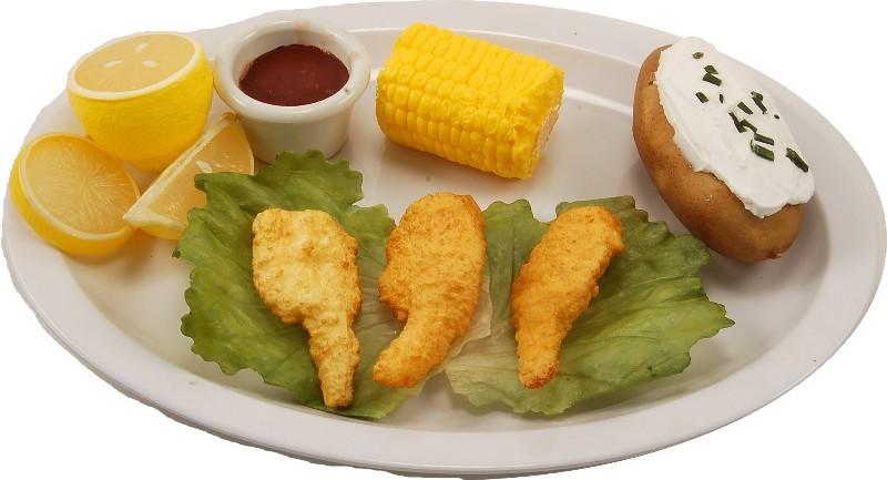 fried shrimp plate corn cob