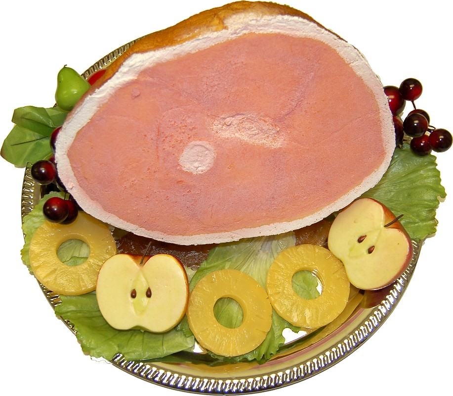 fake roasted ham tray