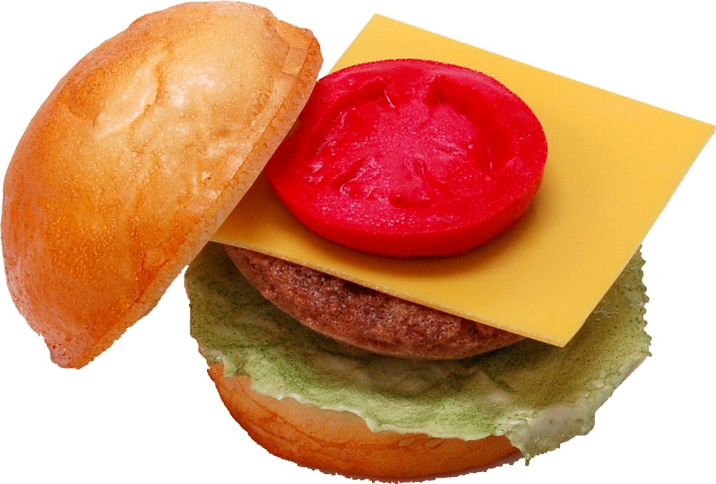 Cheeseburger fake food Open