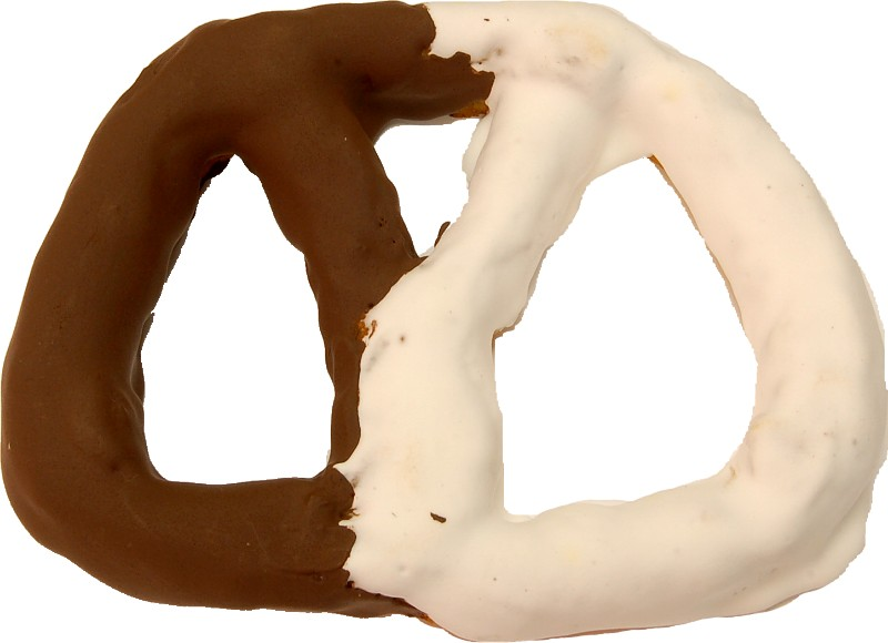 Pretzel Large 6 inch Dipped White and Dark Chocolate Fake Pretzel