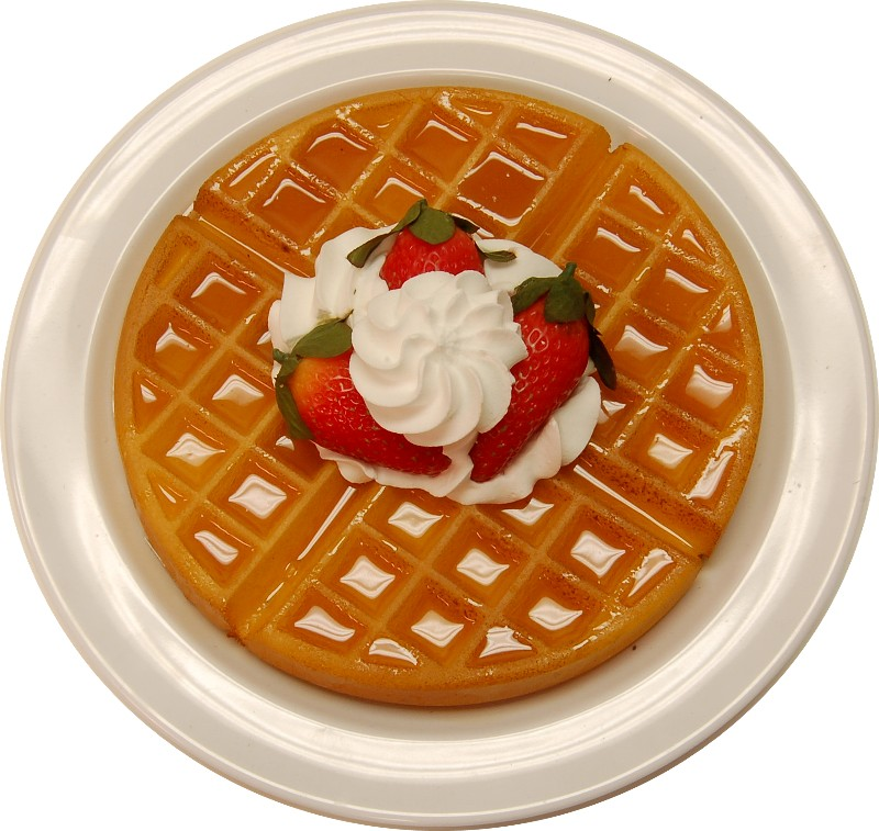 Strawberry Waffle Plate fake food