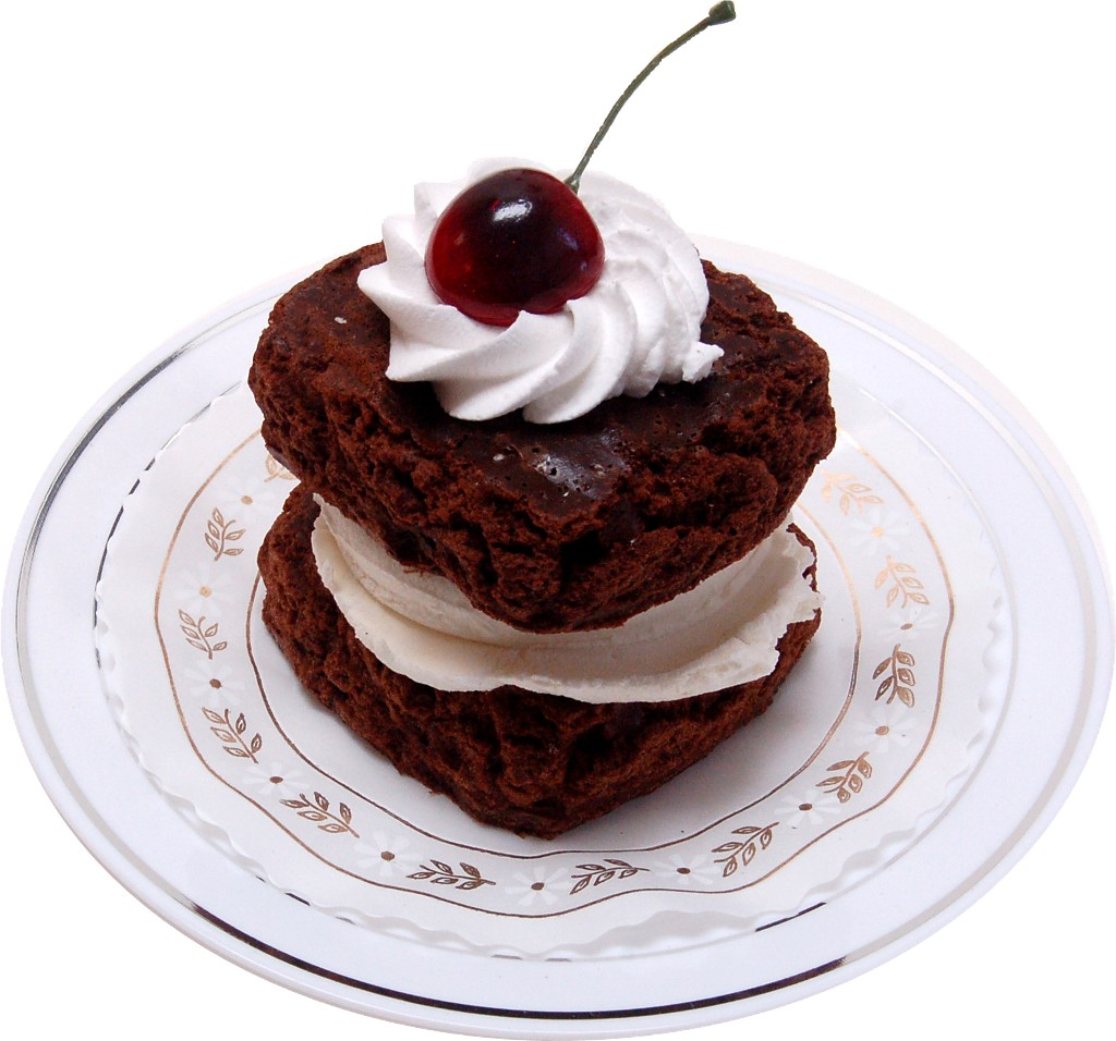 Fake Brownie and Vanilla Ice Cream Sandwich with plate