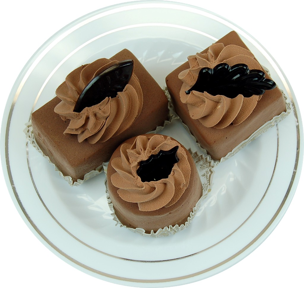 Mini Fakey Designer Chocolate Cakes 3 pack Petit Fours Plate top