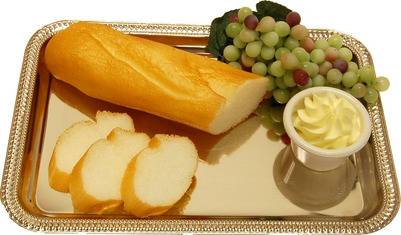 Bread Sliced and Grapes with Metal Rectangle Tray
