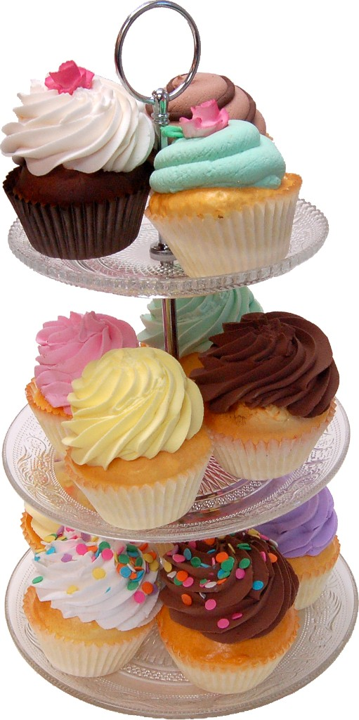 Small 3 Tier Glass Stand Fake Cupcakes Assortment 13 Piece