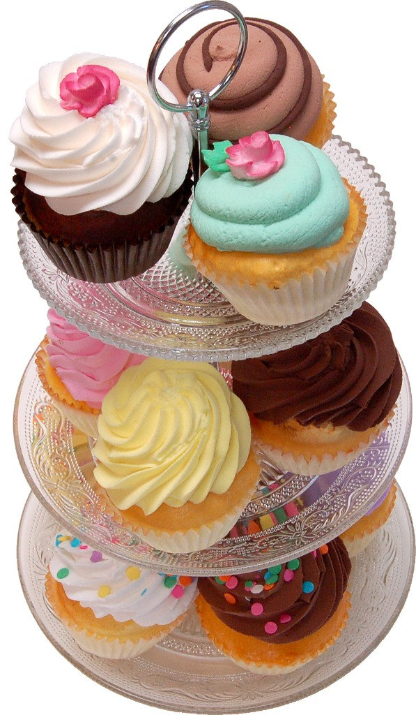 Small 3 Tier Glass Stand Fake Cupcakes Assortment 13 Piece b