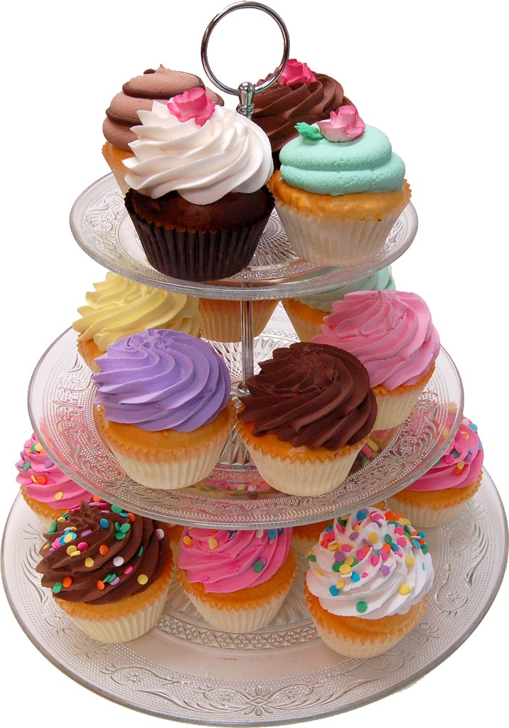 Large Glass 3 Tier Stand Fake Cupcake Assortment 21 Piece