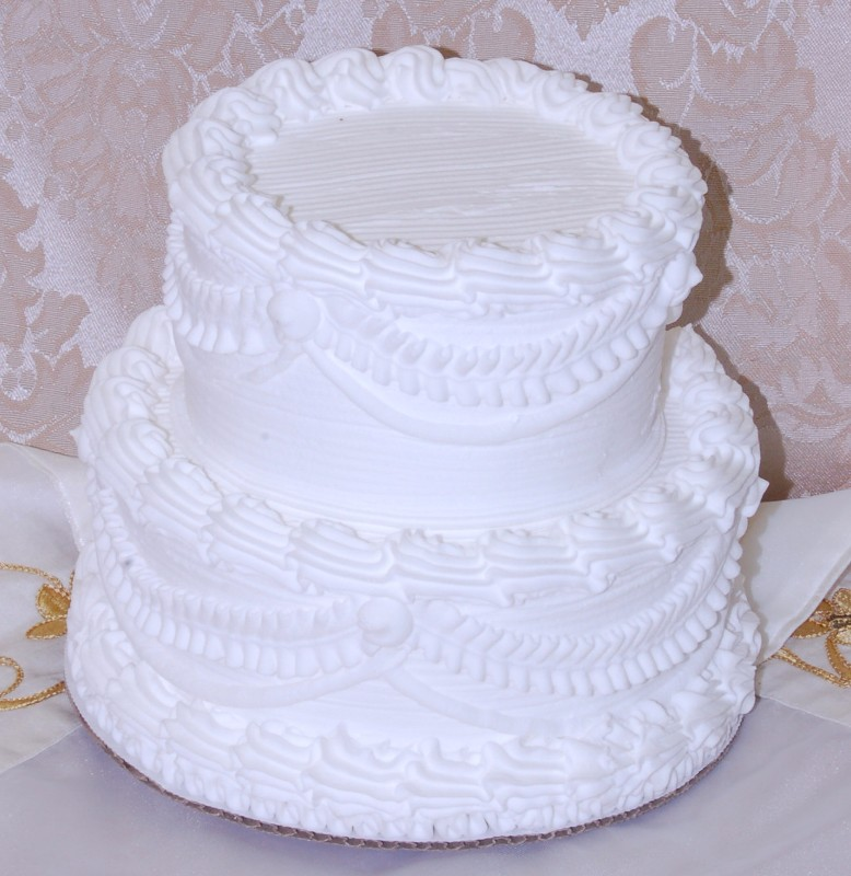 Wedding Fake Cake Two Tier Stacked White 7 Inch DecorCentralcom