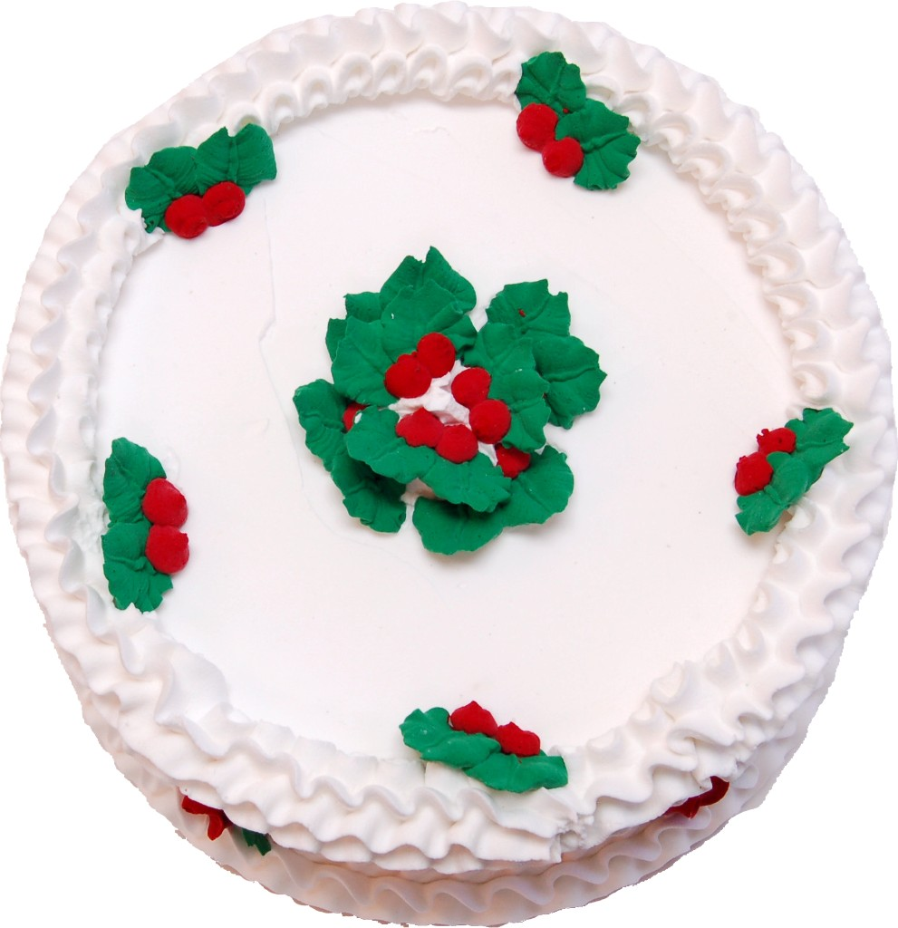Christmas Holly Vanilla Fake Cake  Top