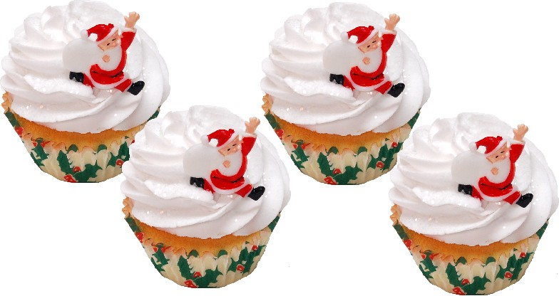 Santa Christmas Fake Cupcake 4 Pack
