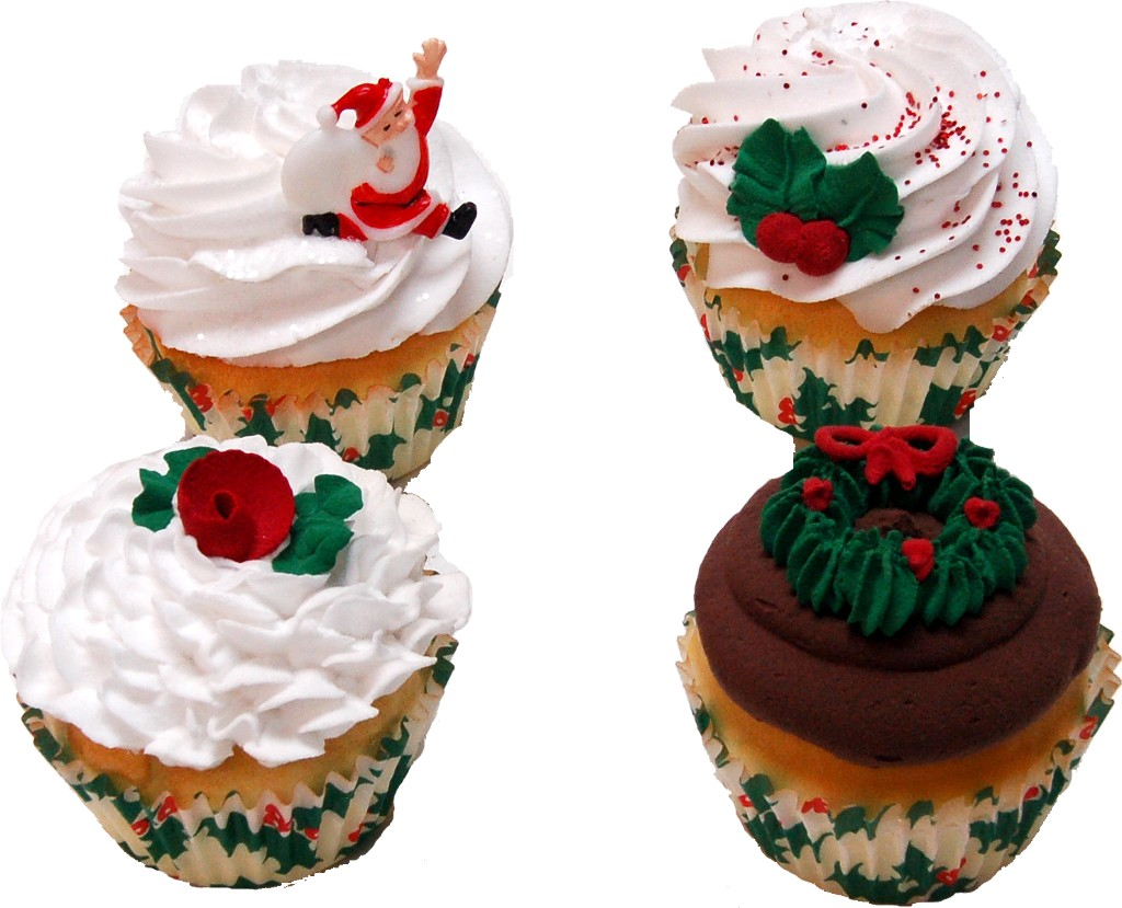 4 Pack Christmas Fake Cupcake