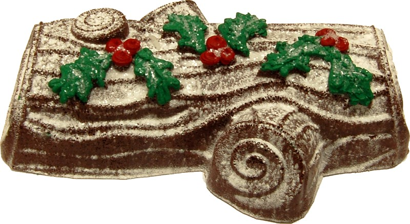 yule log fake food cake dark brown 3