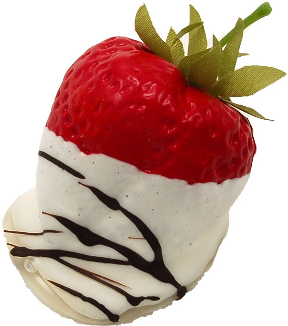 chocolate white swirl fake strawberry