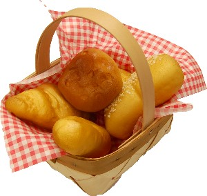 Fake Bread Rolls 5 piece with Basket