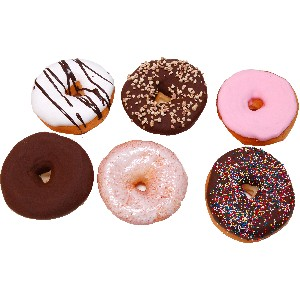 Large Fake Doughnuts Assorted 6 Pack Soft Touch