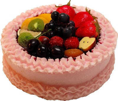 Pink Fake Fruit Cake 9 inch