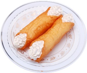 Cannoli Fake Sicilian Dessert 2 piece Plain USA
