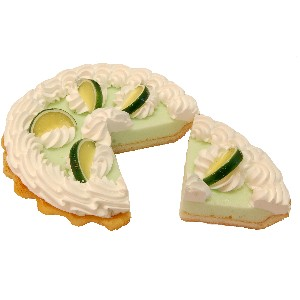 Key Lime Cream Artificial Pie with Slice Fake Pie