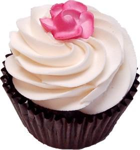 Vanilla Rose Fake Chocolate Cupcake