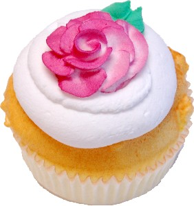 Jumbo Size Rose Fake Vanilla Cupcake with Box