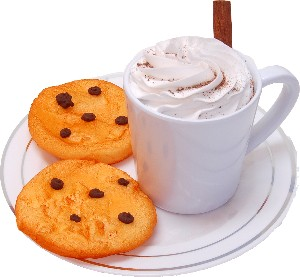 Fake Hot Chocolate Plastic Mug and Chocolate Chip Cookies on Plate