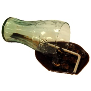 Cola Spill Glass fake drink USA