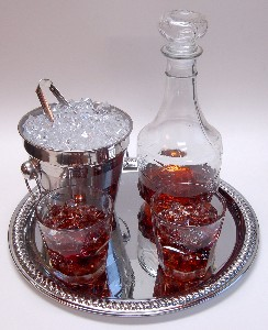 Whiskey Decanter Glass Set with Tray Fake Drink