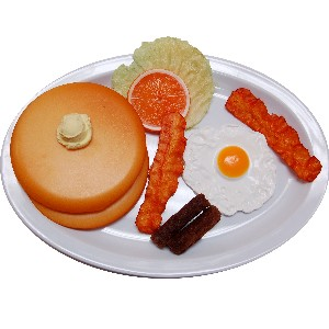 Breakfast Plate Fake Eggs, Sausage, Bacon and Pancakes