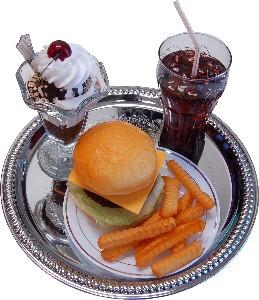 Cheeseburger Fake Food Display Tray