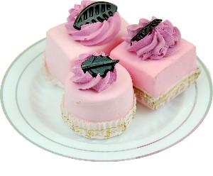 Mini Fakey Designer Pink Cakes 3 pack Petit Fours Plate