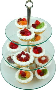 13 Piece Tempered Glass Stand with Fake Fruit Tarts