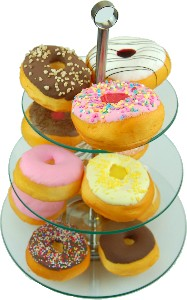 13 Piece Tempered Glass Stand with Fake Doughnuts