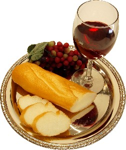 Wine and Bread Metal Round Tray Fake Food