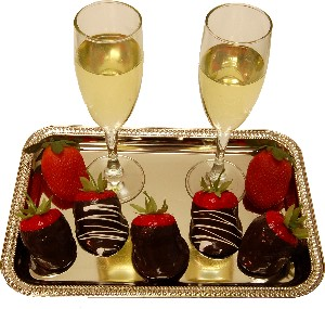 Champagne and Strawberry's Fake Food With Metal Rectangle Tray U.S.A.