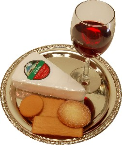 Wine and Cheese Metal Round Tray Fake Food