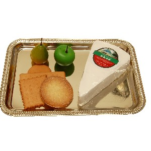 Brie Wedge Fake Cheese and Crackers Rectangle Tray