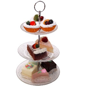 Small Glass 3 Tier Stand with Fake Dessert 10 Piece