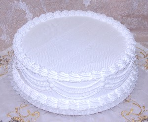 Wedding Fake Cake with Lace White 16 Inch