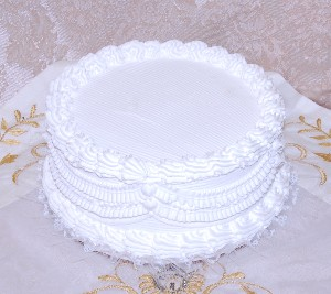 Wedding Fake Cake White with Lace 9 Inch