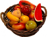 Fake Assorted Fruits 14 Piece with Round Basket