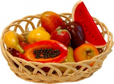 Fake Assorted Fruits 14 Piece with Basket