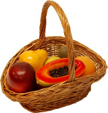 Fake Assorted Fruits 7 Piece with Willow Handle Basket